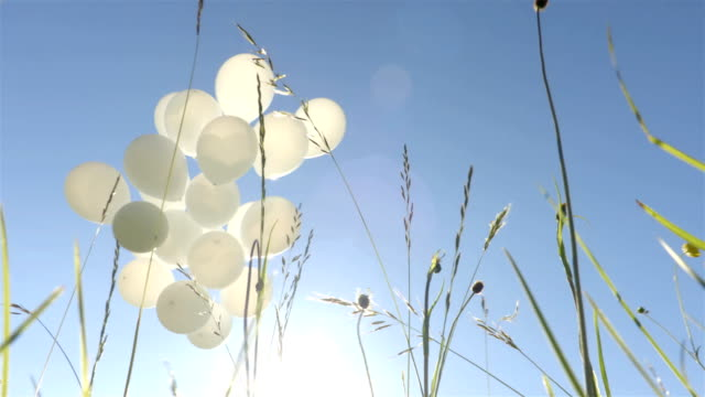 White balloons with the sky on the background video