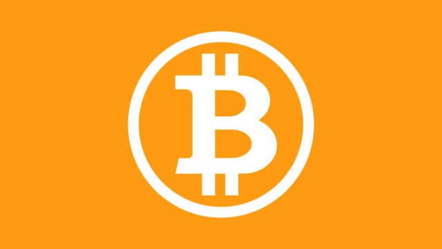 White bitcoin logo appearing and exploding on the orange background video