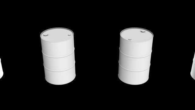 White blank metal barrel oil row