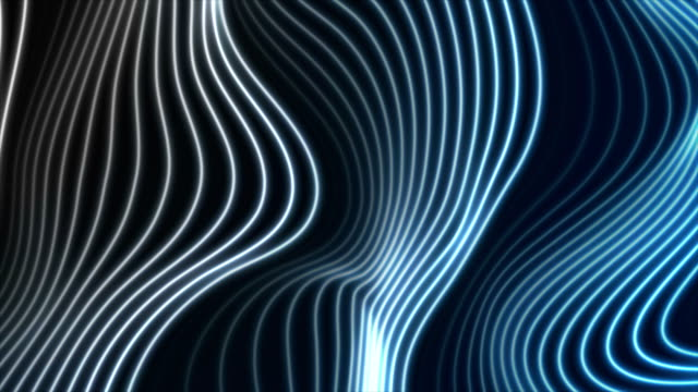 white blue neon curved wavy lines video animation - striato video stock e b–roll