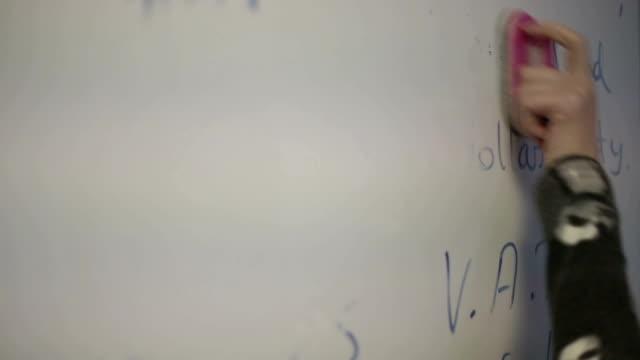 bianco bordo di cancellazione - lavagna bianca video stock e b–roll