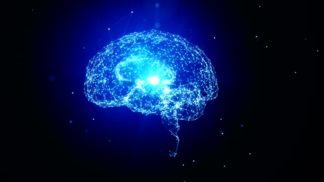 white brain object made with white dots spinning on blue background - artificial intelligence concept - modalità wire frame video stock e b–roll