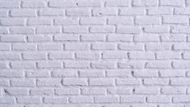 White Brick Wall Background Video of white clean brick wall background handheld shot. 4K brick stock videos & royalty-free footage