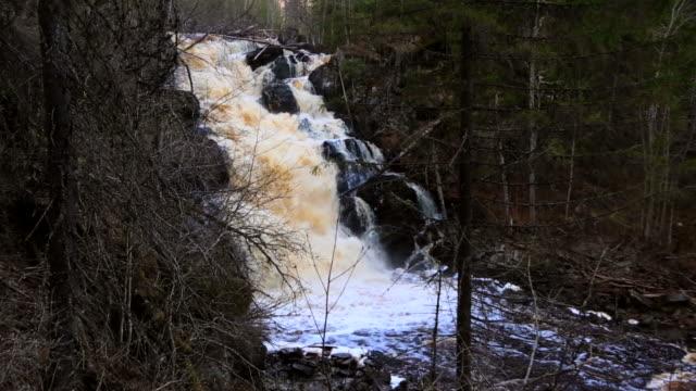 White Bridge waterfall at spring. Karelia video