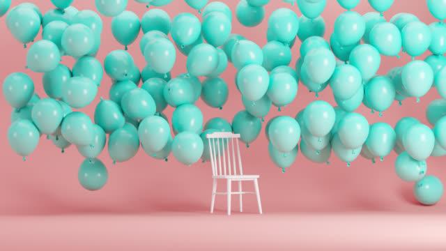 ピンクの背景部屋に浮かぶ青い風船で立つ白い椅子。最小限のアイデアコンセプト3dアニメーション。 - シュール点の映像素材/bロール
