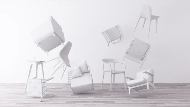 white chairs in empty white background. concept of minimalism & installation art. 3d rendering mock up - studio camera video stock e b–roll
