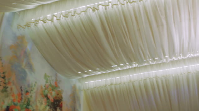 White Chandelier in The Restaurant on a Holiday Wedding video