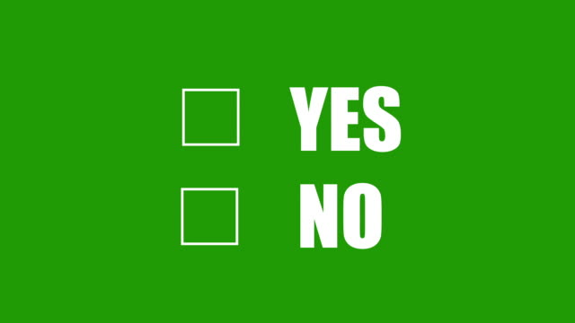 White Checkbox Yes or No on Green screen video