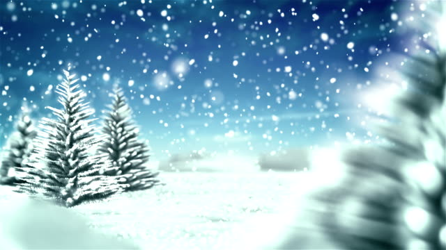 White Christmas Winter Background - Blue Sky video