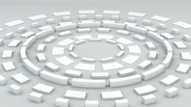 White circular elements rotating loopable 3D render video
