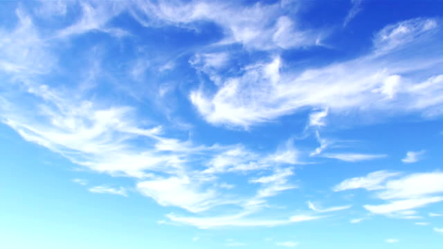 White cirrostratus (sheet) clouds in blue sky video