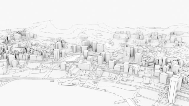 3D white city model. Outline 3D illustration video 3D white city model. Outline 3D illustration video. City with buildings, roads, spending and green areas. Aerial view. Construction concept wire frame model stock videos & royalty-free footage