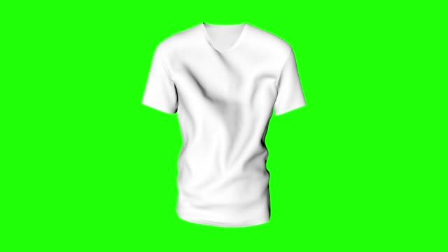 White classic t shirt waving green chroma key cotton clothe animation 3d