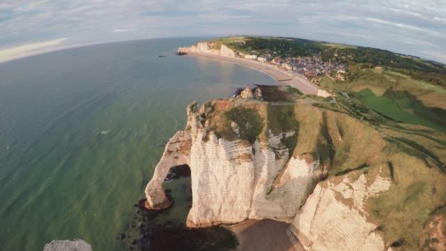 White cliffs at Etretat, Normandy, France View over the beautiful white cliffs at Etretat in Normandy, France normandy stock videos & royalty-free footage