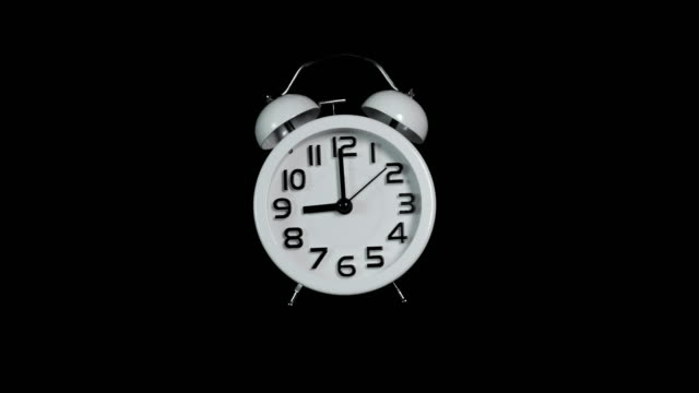 White Clock timelapse loop fast to slow on Black background. Time Lapse,Countdown,Alarm,Clock,Timer,Speed time zone stock videos & royalty-free footage
