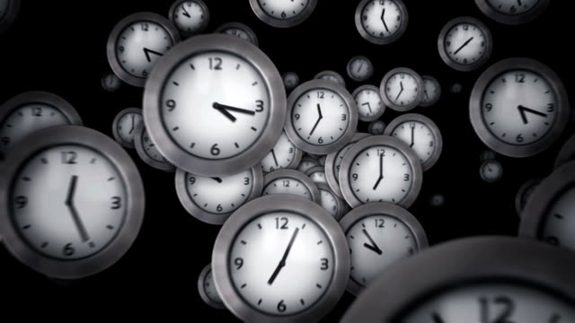 White clocks flying. Black background. Loopable. White clocks flying symbolizing the passing of time. Loopable. Luma matte. Full HD. Animation created exclusively for iStockphoto. wall clock stock videos & royalty-free footage