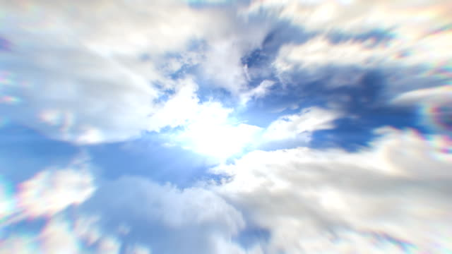 White clouds flying blue sky time lapse. Cumulus clouds fast flying sky timelapse.