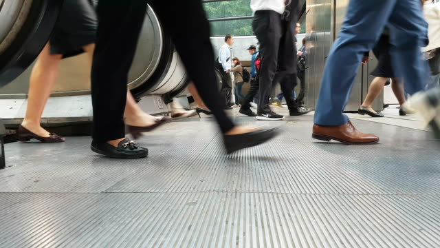 Video White Collar Workers Commuting to the Offices