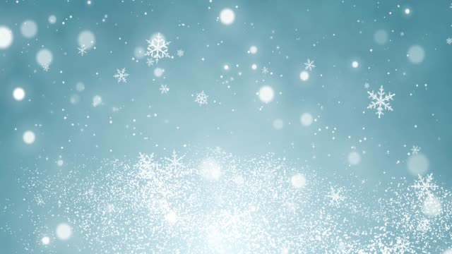 White confetti, snowflakes and bokeh lights on the blue Christmas background