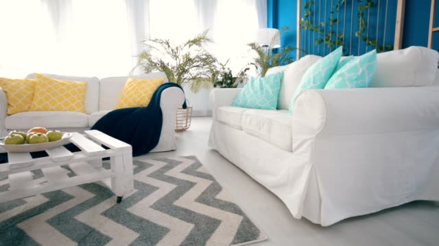 White diy coffee table White diy coffee table in blue stylish living room setter dog stock videos & royalty-free footage