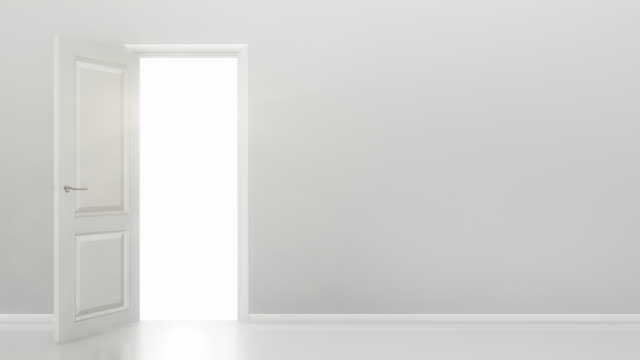 White Door Opening to a Bright Light - Empty Room | 4K video