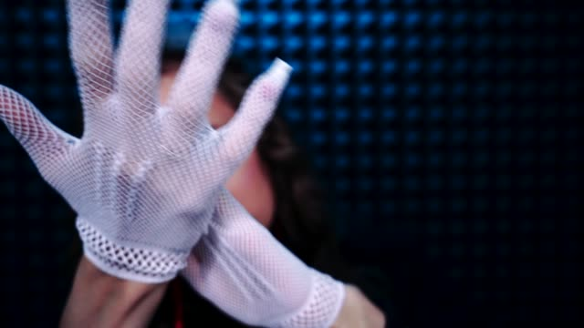 White fishnet glove is the best trigger ASMR ASMR relaxing gloves and hand sounds. White fishnet glove is the best trigger for deep relax, new technology to fall asleep. Hands visual touching, massage. Close rustling fingers from ear to ear goosebumps stock videos & royalty-free footage