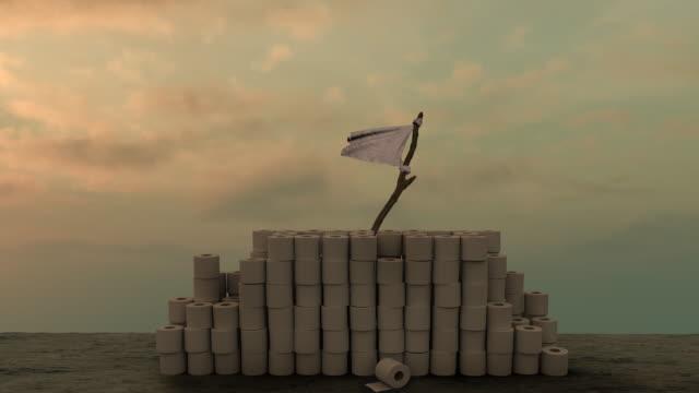 white flag behind toilet rolls against sullen sky - molla video stock e b–roll