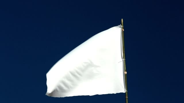 white flag waving in the blue sky - molla video stock e b–roll