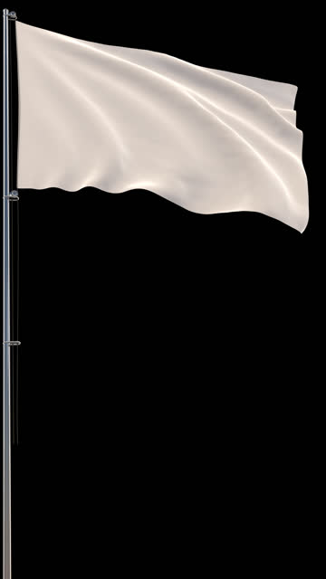 White flag, waving on transparent background, prores footage with alpha channel, vertical video