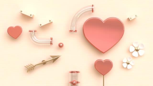 vídeos de stock e filmes b-roll de white flower spinning pink heart ball drop to tube abstract valentine concept motion 3d rendering - flower white background