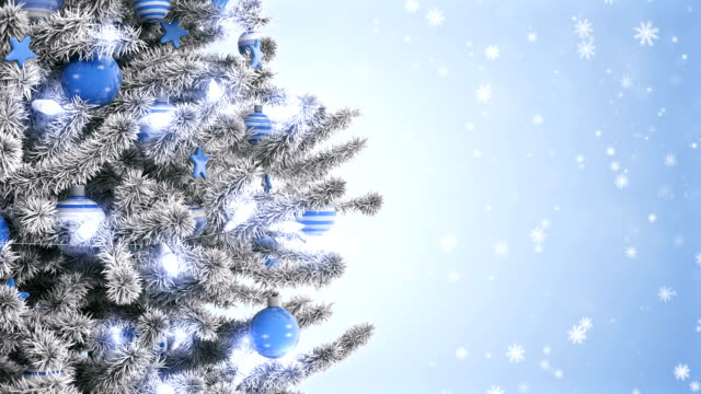 White frosty Christmas tree with falling snowflakes The decorated animation white frosty Christmas tree with falling snowflakes christmas ornament stock videos & royalty-free footage