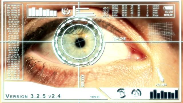 White Futuristic Eye scanning interface full HD video