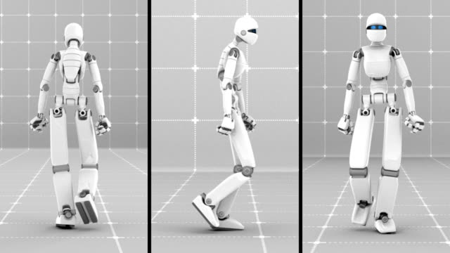 White futuristic robot walking indoor- Front, Side, Back view video