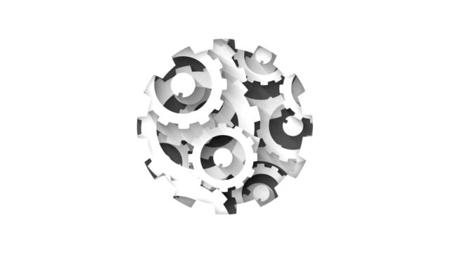 white gears system industrial technology concept abstract background loop animation