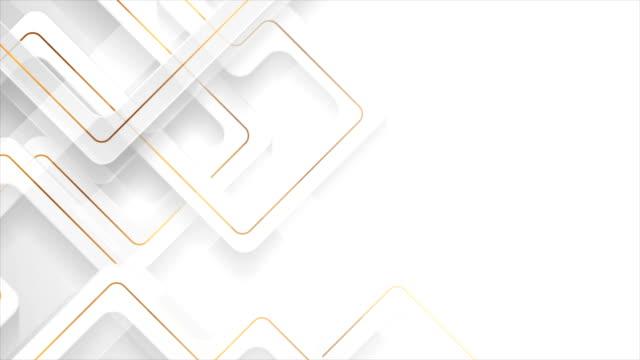 vídeos de stock e filmes b-roll de white geometric motion background with abstract golden lines - padrão repetido