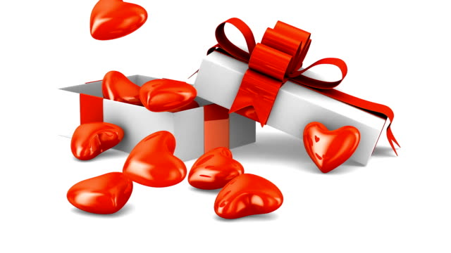 weißen geschenkbox und herzen. 3d render - valentinstags karte stock-videos und b-roll-filmmaterial