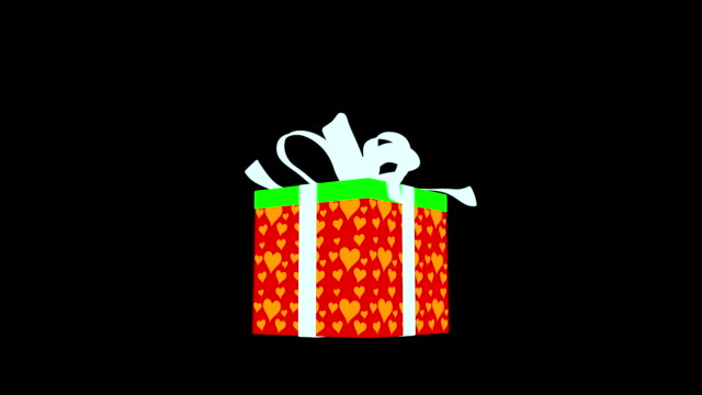 White gift box with red hearts opening video