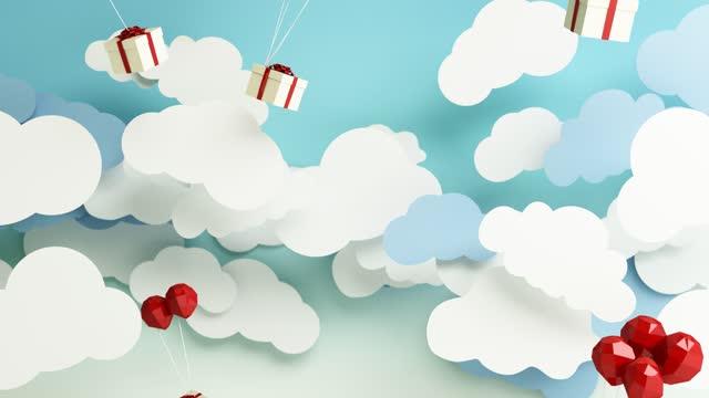 vídeos y material grabado en eventos de stock de cajas de regalo blancas atadas con globos rojos cayó del cielo a través de las nubes en movimiento sobre el fondo azul en el festival de año nuevo animación de renderizado 3d - imagen en bucle
