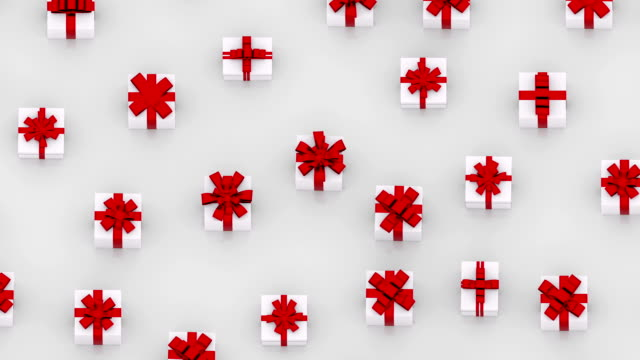 White gift boxes with red ribbons. (loop ready) video