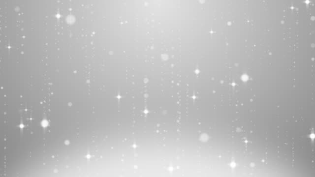 white glitter twinkling abstract magic moment background, white twinkle floating, drifting around with glow line - argentato video stock e b–roll