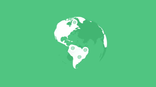 white globe earth on green background with at signs video