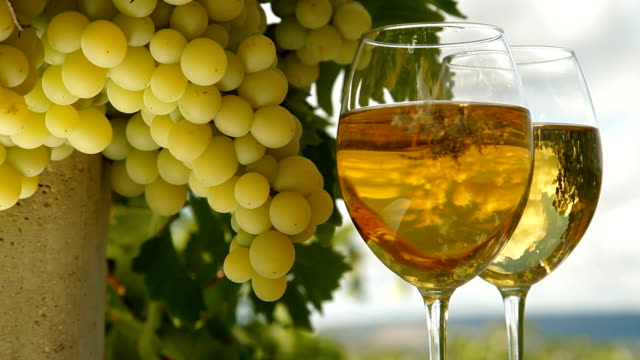 White Grape and Wine Glasses video