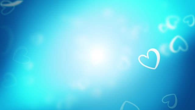Branca corações fundo azul Loop de animação - vídeo
