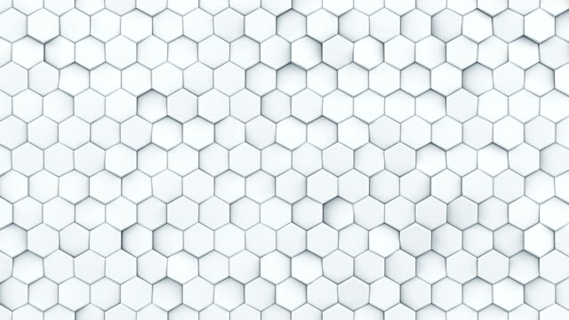 white hexagon pattern seamless loop abstract 3d animation - esagono video stock e b–roll