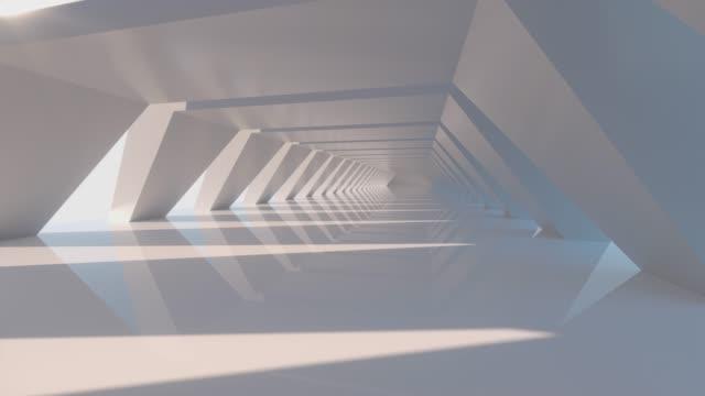 흰색 육각 형 터널, 현대 건축, 3d 렌더링. - abstract architecture 스톡 비디오 및 b-롤 화면