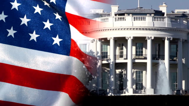 stockvideo's en b-roll-footage met us white house and american flag - white house