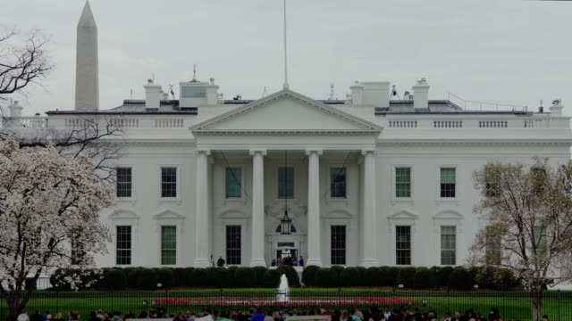 White House North Facade Lawn and Washington Monument in Washington, DC in 4k/UHD video