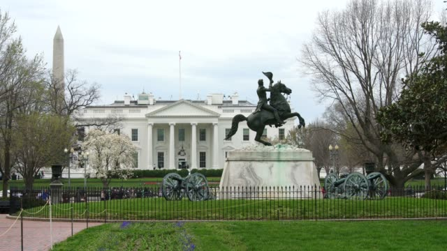White House North From Lafayette Square Park in Washington, DC in 4k/UHD video