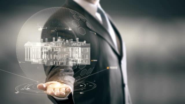 White House Washington Businessman holding in Hand Landmark New technologies