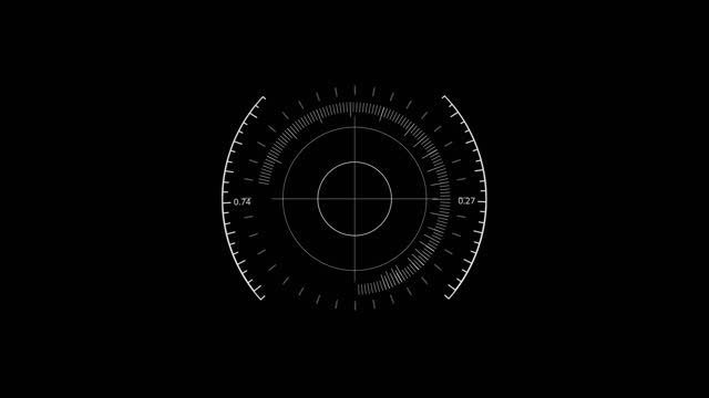 White HUD Circle User interface on isolated black background. Target searching scope and scanning element theme. Digital UI and Sci-fi circular. 4K motion graphic footage video
